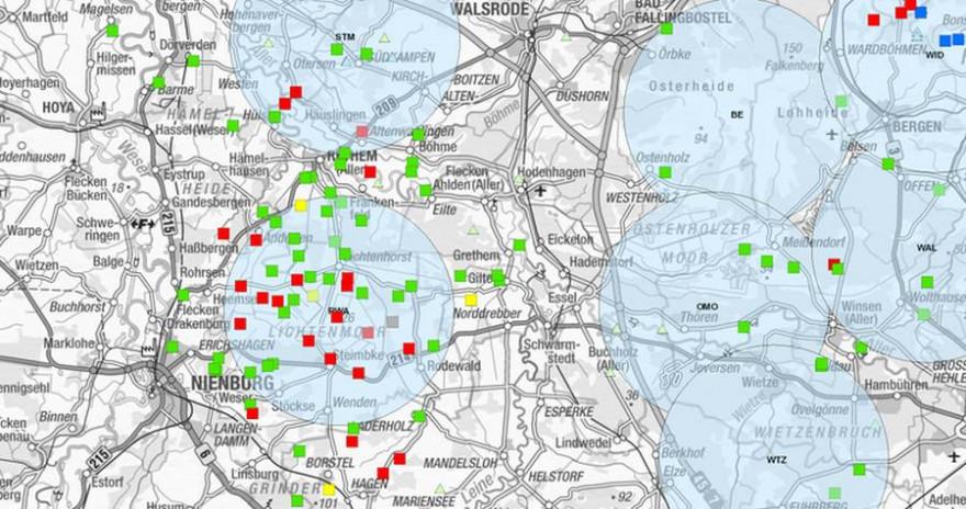 Gemeldete Nutztierrissereignisse im Bereich des Rodewalder (RWA) sowie benachbarter Rudel