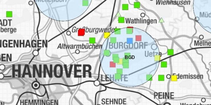 Gemeldete Nutztierrissereignisse im Bereich des Burgdorfer Rudels (rot: Rind, grün: Schaf, gelb: Pferd, Dreieck: in Bearbeitung) Quelle: https://is.gd/kNIN8e