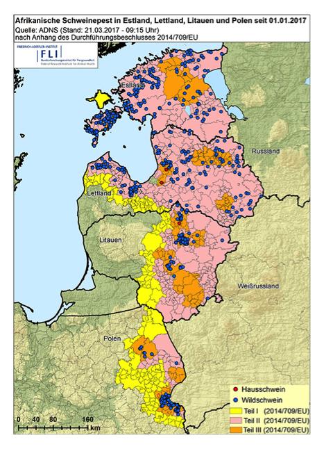 Grafik: Friedrich-Loeffler-Institut / Afrikanische Schweinepest in Osteuropa seit dem 1. Januar 2017 (Stand 21. März 2017)