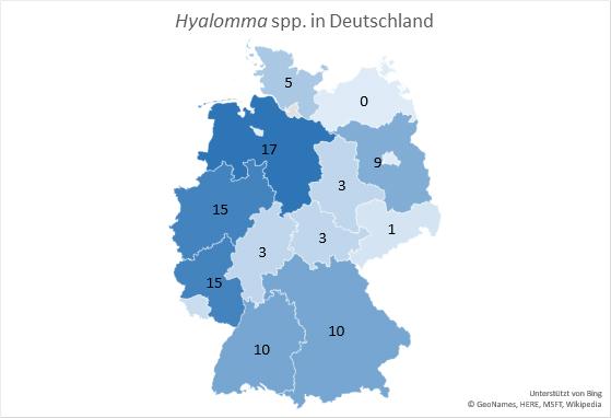 Auftreten von Hyalomma in Deutschland. (Bild: Universität Hohenheim / GeoNames, HERE, MSFT, Wikipedia – unterstützt vom BING)