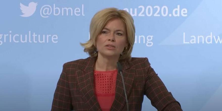 Bundeslandwirtschaftsministerin Julia Klöckner auf der Pressekonferenz zur Bestätigung des ASP-Verdachts in Brandenburg (Quelle: Screenshot)