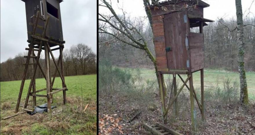 Die beiden beschädigten Hochsitze (Fotos: Polizeiinspektion Merzig)
