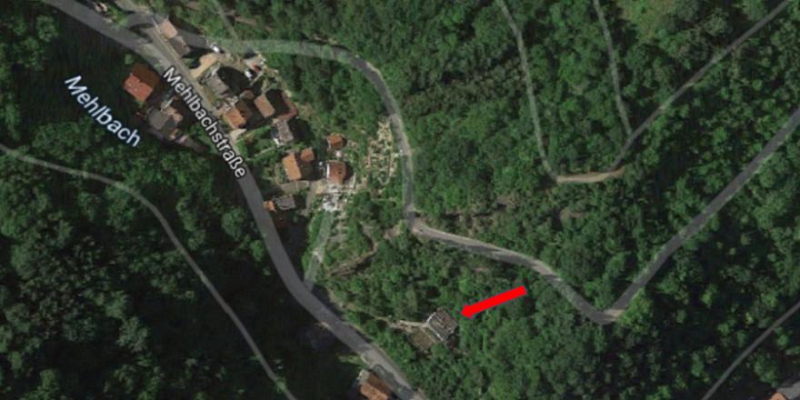 Auf diesem Grundstück, in der Mehlbachstraße von Dalberg, ereignete sich das Unglück. Grafik: Screenshot Google Maps/mlz