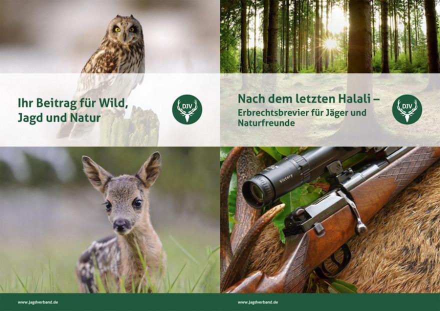 """Die Informationsmappe """"Erbschaften"""" enthält die Broschüre """"Ihr Beitrag für Wild, Jagd und Natur"""" und den Erbrechtsleitfaden """"Nach dem letzten Halali"""". (Quelle: DJV)"""