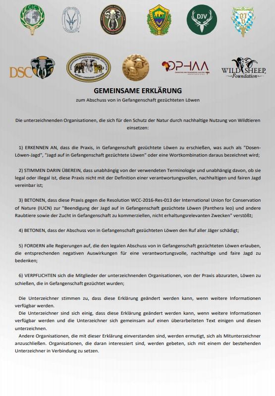 Gemeinsame Erklärung zum Abschuss von in Gefangenschaft gezüchteten Löwen_1