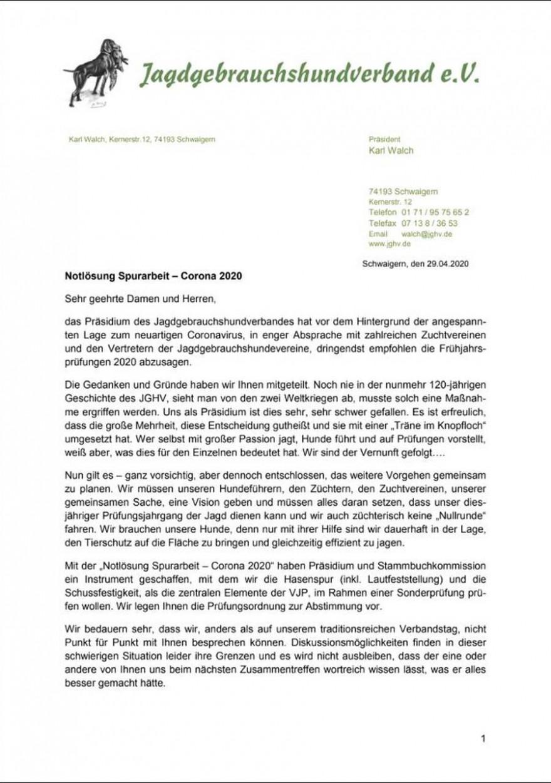 Anschreiben - schriftliche Abstimmung Seite 1 (© 2020 Jagdgebrauchshundverband e.V.)