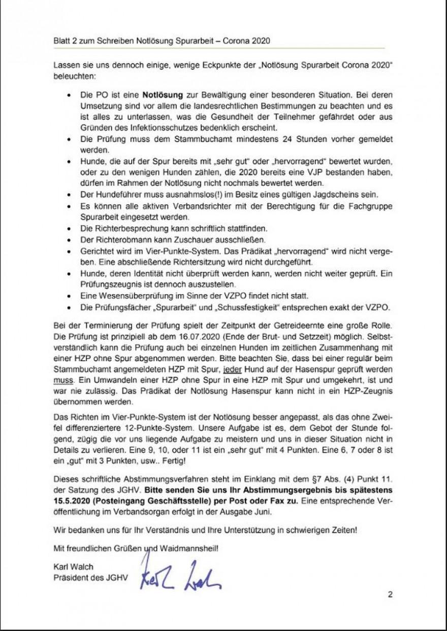 Anschreiben - schriftliche Abstimmung Seite 2 (© 2020 Jagdgebrauchshundverband e.V.)
