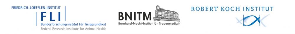Logos des Friedrich-Loeffler-Instituts, des Bernhard-Nocht-Instituts für Tropenmedizin und des Robert Koch-Instituts
