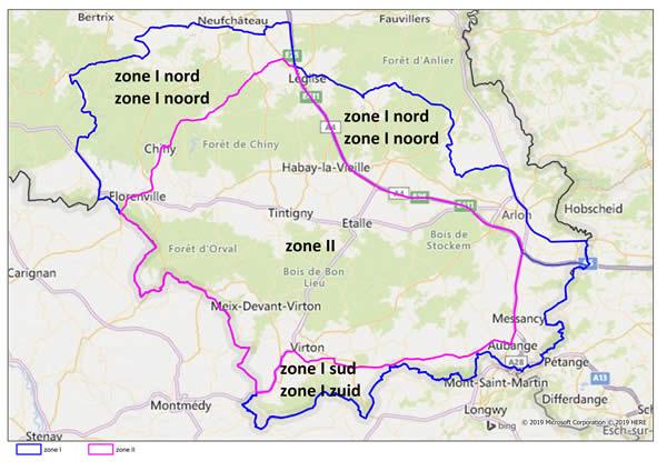 Karte des belgischen Beobachtungsgebietes Quelle: Agence fédérale pour la sécurité de la chaîne alimentaire (AFSCA)
