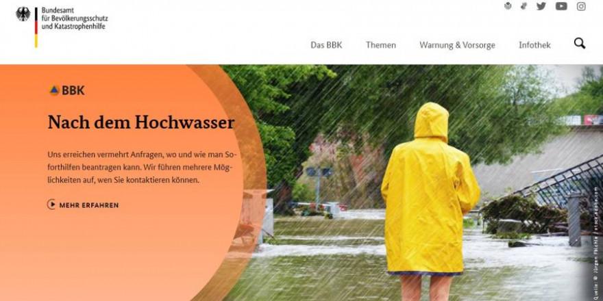 Screenshot der Homepage des Bundesamts für Bevölkerungsschutz und Katastrophenhilfe (Symbolbild: BBK)