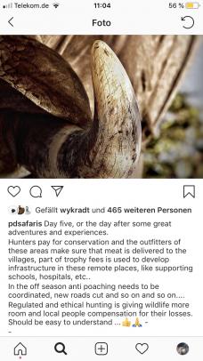 Jagdbilder sollten respektvoll sein (Quelle: Screenshot Instagram Dafner/DJV)