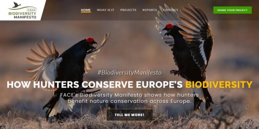 Screenshot der Startseite von BiodiversityManifesto (Quelle: https://www.biodiversitymanifesto.com/)
