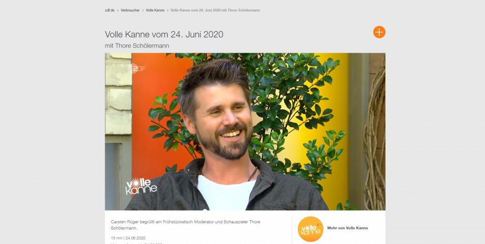 Thore Schölermann in der ZDF-Sendung Volle Kanne (Quelle: zdf.de/Volle Kanne/Volle Kanne vom 24. Juni 2020 mit Thore Schölermann)
