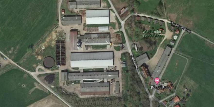 In dem Wasserauffangbecken links im Bild wurden die beiden Hunde getötet (Quelle: Screenshot Google Earth)