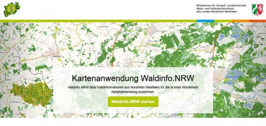 Startseite von Waldinfo.NRW (Quelle: Waldinfo.NRW)