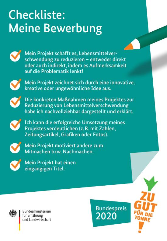 Checkliste für den Zu gut für die Tonne! – Bundespreis 2020 (Quelle: BMEL)
