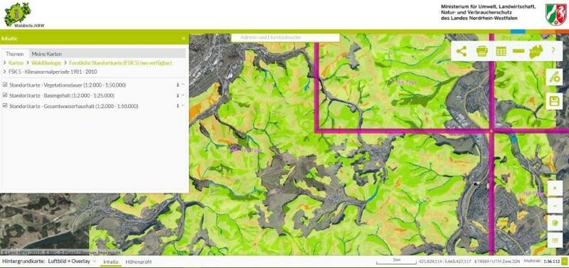 """Abbildung 1: Ansicht der Forstlichen Standortkarte 1:5.000 in Waldinfo.NRW unter """"Waldökologie"""" (Quelle: Waldinfo.NRW)"""