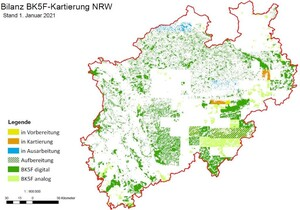 Abbildung 2: Aktueller Stand der großmaßstäbigen Bodenkarte BK5F und der neuen FSK5 (Quelle: Waldinfo.NRW)