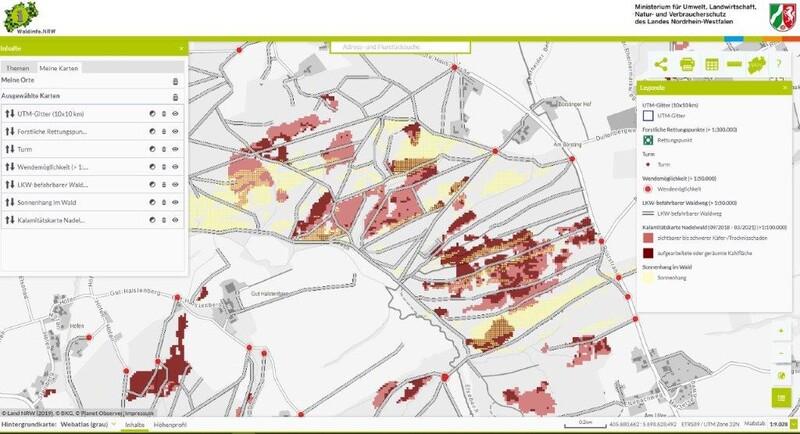Abbildung 3: Auswahl relevanter Layer für die Waldbrandabwehr in Waldinfo.NRW (Quelle: Waldinfo.NRW)