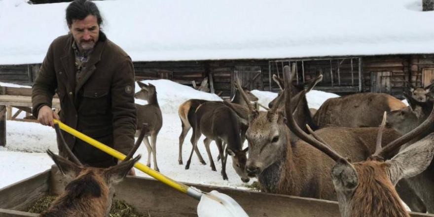 Hirschflüsterer Thomas Tscherne bei der Versorgung des Rotwildes in der Notzeit (Foto: DMAX)
