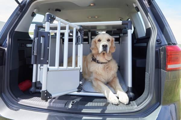 Der ideale Hundetransport findet in einer Box statt, die im Kofferraum fest verzurrt und gesichert ist. Zu groß darf eine Box aber nicht sein, sonst kann sich der Hund trotzdem verletzen. (Foto: ADAC / Uwe Rattay)