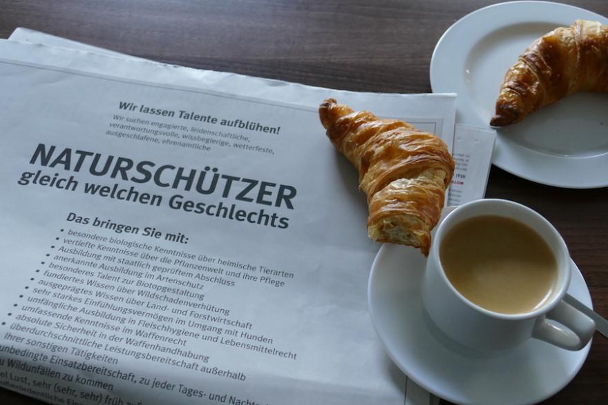Die Anzeige am Frühstückstisch