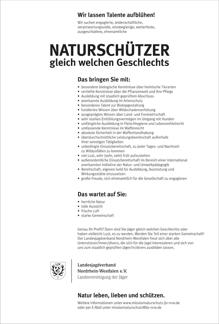 Die fiktive Stellenanzeige, Quelle: LJV NRW