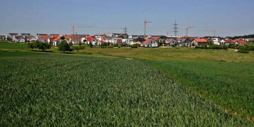 Ein Dorf mit Baukränen umrahmt von Feldern (Symbolbild_Catkin)