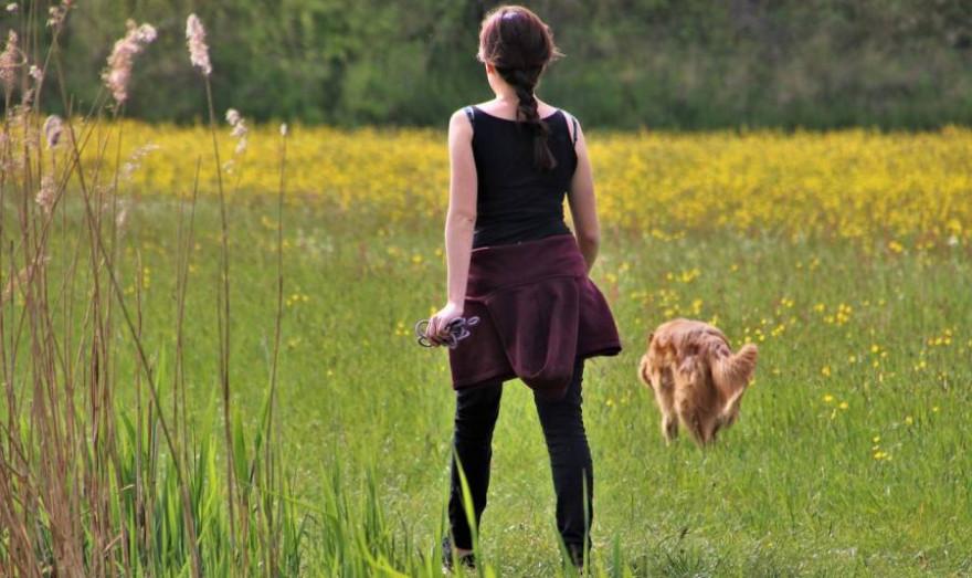 Eine Frau mit einem nicht angeleinten Hund (Symbolbild:  pasja1000)