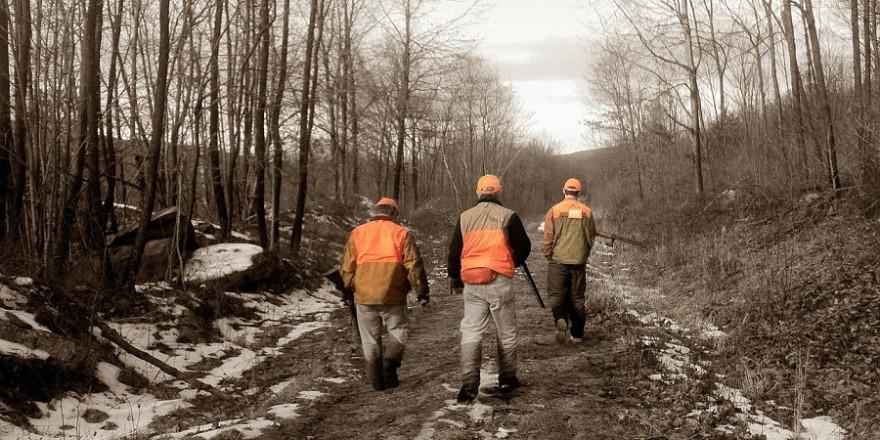 Drei Jäger bei einer Gesellschaftsjagd.