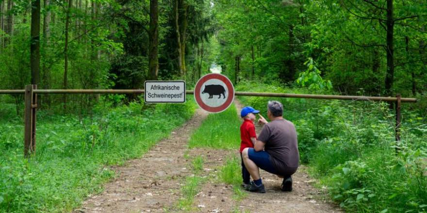 Mann mit kleinem Jungen vor einer Schranke im Wald mit Schildern zur Warnung vor der Afrikanischen Schweinepest. (Symbolbild: gabort71)