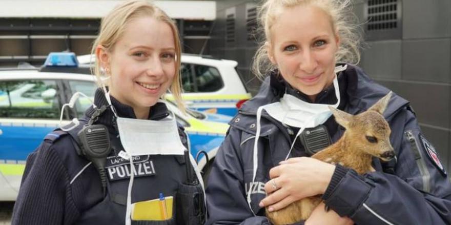 """Zwei Polizistinnen der Inspektion Brandenburg mit Rehkitz """"Gretchen"""" (Foto: Polizeidirektion West, Brandenburg/Havel)"""