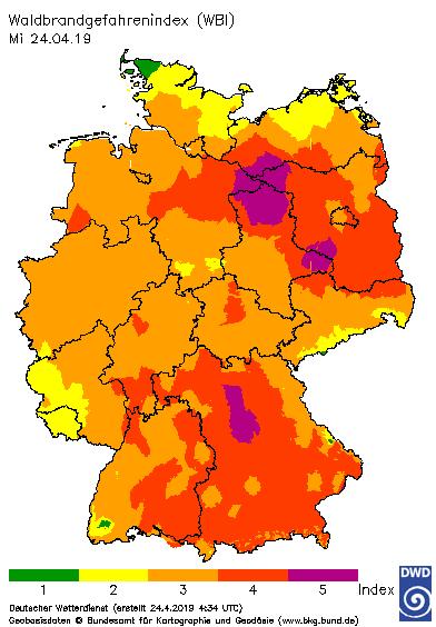 Index des meteorologischen Potentials für die Gefährdung durch Waldbrand Quelle: DWD